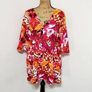 Classic Woman•Floral *open dolman sleeve-XL-NWOT